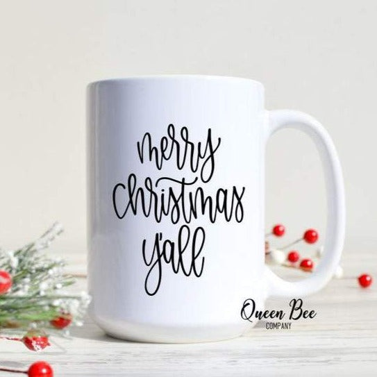 Merry Christmas, Y'all Mug - The Queen Bee Company