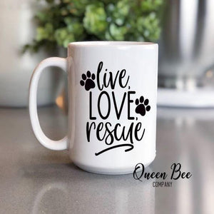 Live Love Rescue Dog Coffee Mug - The Queen Bee Company