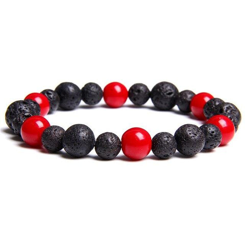 Bracelet Anti-Stress <br>Corail Rouge et Pierre de Lave - Shop Antistress