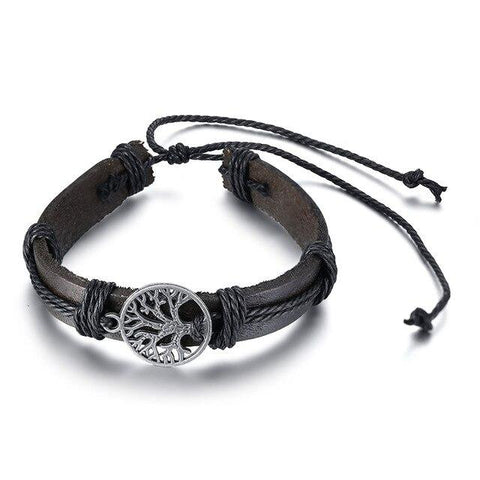 Bracelet Anti-Stress <br>Cuir Arbre de Vie - Shop Antistress