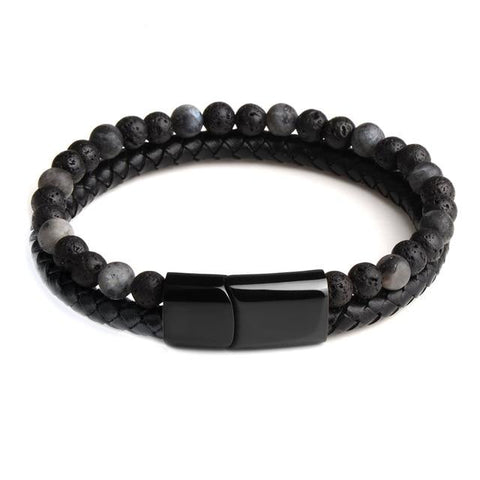 Bracelet Anti-Stress <br>Cuir, Obsidienne Noir et Pierre de Lave - Shop Antistress