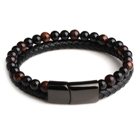 Bracelet Anti-Stress <br>Cuir, Obsidienne Noir et Oeil de Tigre Rouge - Shop Antistress