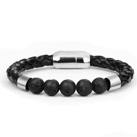 Bracelet Anti-Stress <br>Cuire Tressé Pierre de Lave - Shop Antistress