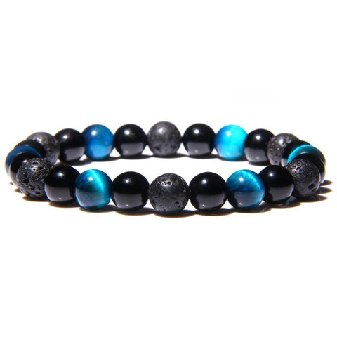 Bracelet Anti-Stress <br>Pierre Bleu, Obsidienne Noir et Pierre de Lave - Shop Antistress