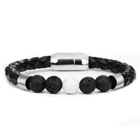 Bracelet Anti-Stress <br>Cuire Tressé Pierre Volcanique et Howlite - Shop Antistress