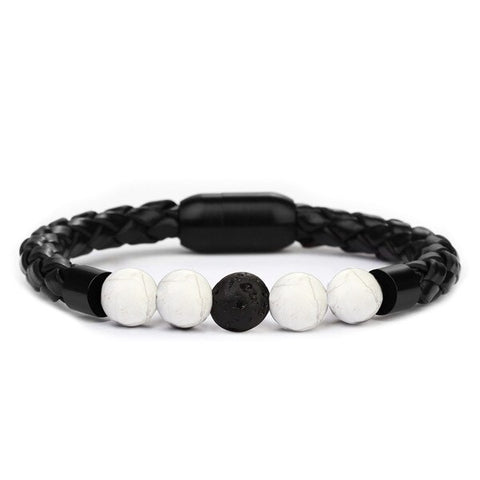 Bracelet Anti-Stress <br>Cuire Tressé Howlite - Shop Antistress