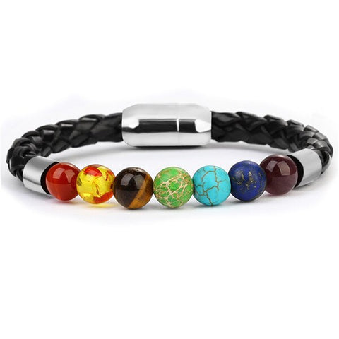 Bracelet Anti-Stress <br>Cuire Tressé 7 Chakras - Shop Antistress