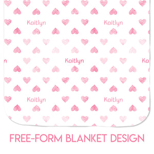 Hearts - Blanket (10 Colour Options)