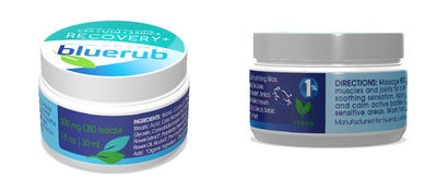 CBD Pain relief cream from bluerub. No THC, but contains arnica and MSM.