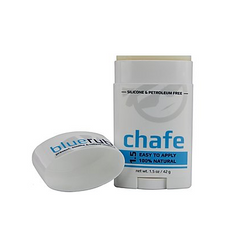 1.5 oz CHAFE from bluerub.  Silicon and petroleum free, this natural, clean formula is good for your skin and good for your runs.  Keep chafing away and say hello to longer runs.
