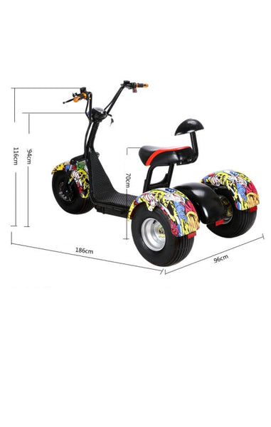 Measurement electric Scooter 3 wheels EH THREE