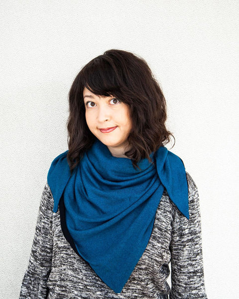 Squasht Triangle Scarf in Soft Modal Sweater Knit - Turquoise and Black