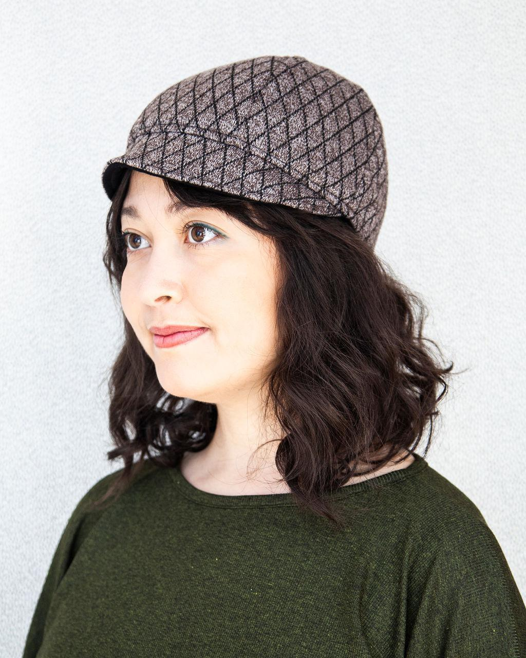 Squasht Bella Hat in Quilted Soft Brown Sweater Knit (Reversible)