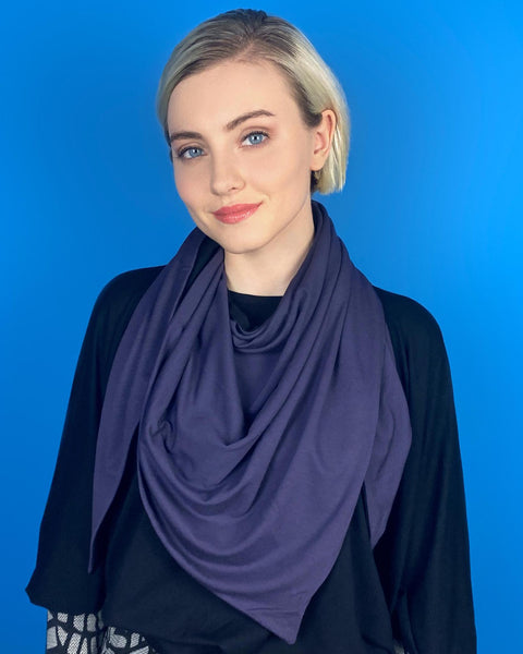 Squasht Triangle Scarf in Jersey Knit - Purple and Black