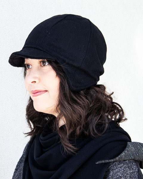 Squasht Solid Black Wool Darby Hat with Black Reverse (Reversible)