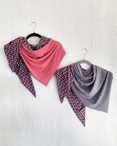 Squasht Reversible Triangle Scarf Geo Print with Pink or Grey Reverse
