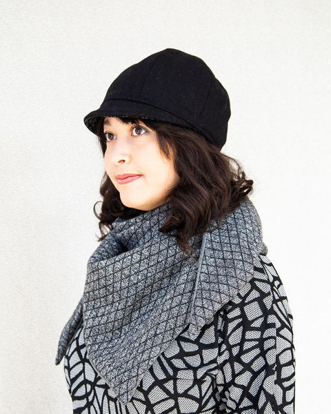 Squasht Bella Hat in Solid Black Wool (Reversible)