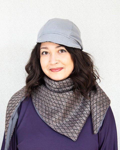 Squasht Bella Hat in Lightweight Black and White Boucle with Grey Reverse (Reversible)