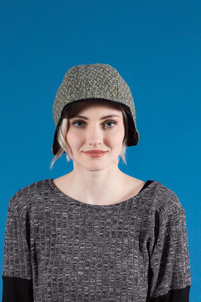 Mottled Sage Green Darby Hat with Black Reverse (Reversible)