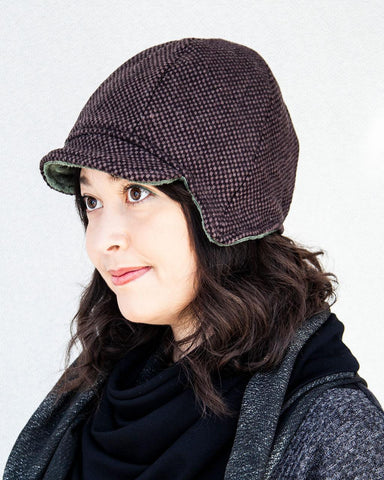 Squasht Darby Hat in Chocolate Wool Tweed (Reversible)