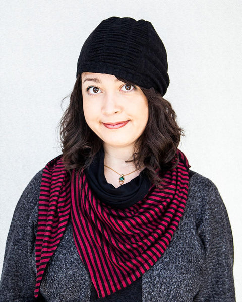 Squasht Slouch Hat in Solid Black Sweater Knit