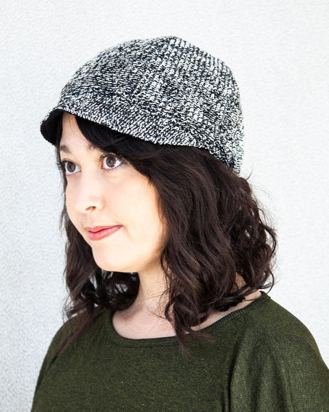 Squasht Bella Hat in White and Black Lightweight Boucle with Black Reverse (Reversible)
