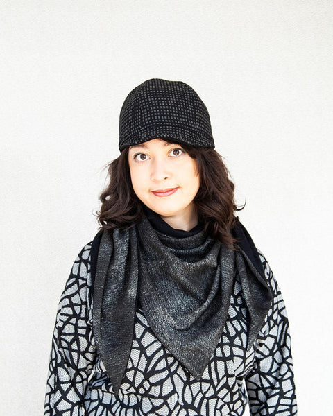 Squasht Triangle Scarf in Dusty Textured Grey and Black Jersey Knit