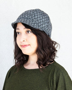 Squasht Bella Hat in Quilted Grey Sweater Knit (Reversible)