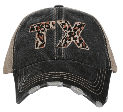 black leopard TX hat