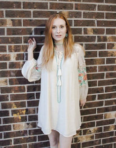 embroidered lace sleeve dress