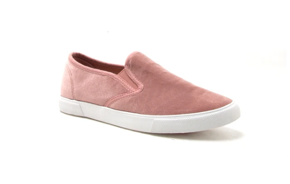 blush velvet slip on