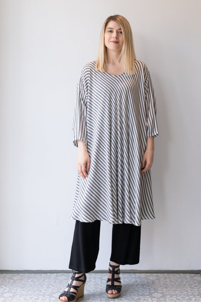 Bias Cut Dress - Grey Stripe - The Wardrobe