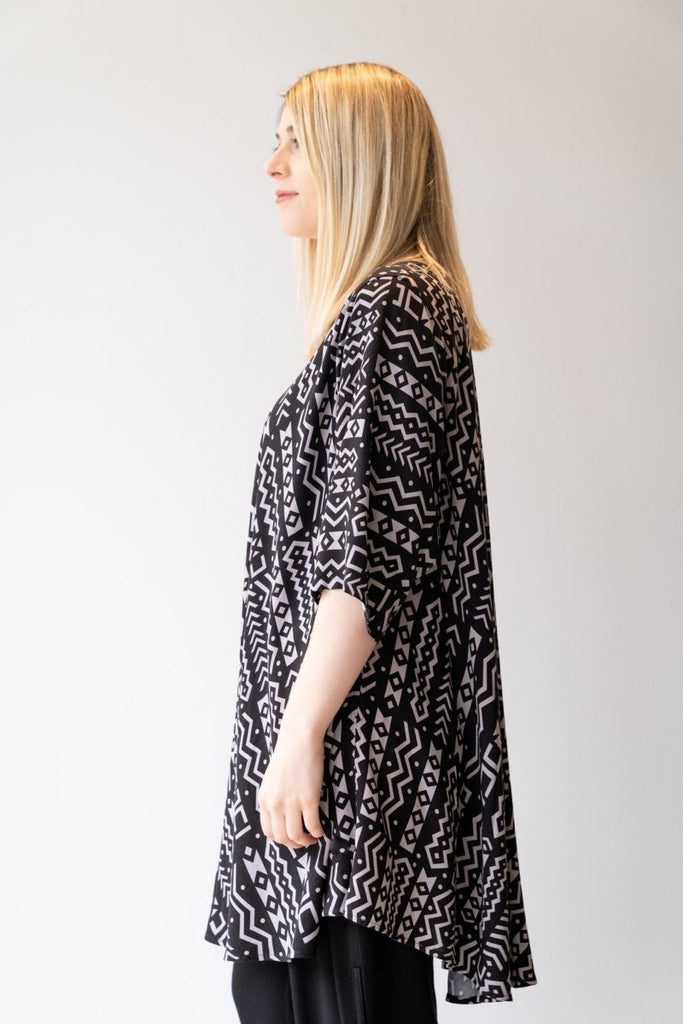 Bias Cut Tunic - Black Aztec - The Wardrobe
