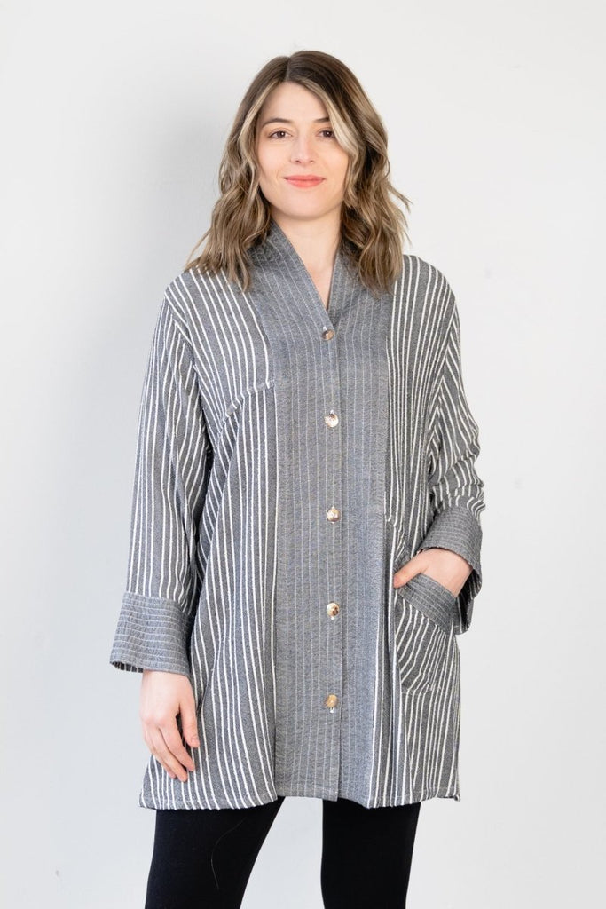 Button Cardigan - Shadow Stripe - The Wardrobe