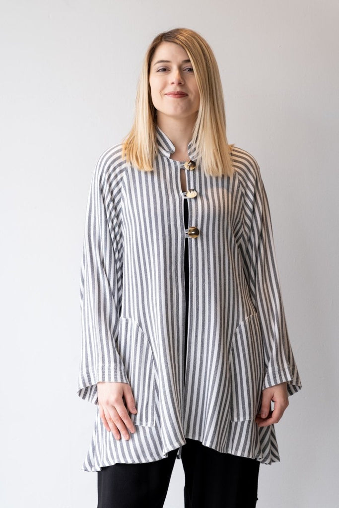 Button Jacket - White Stripe - The Wardrobe