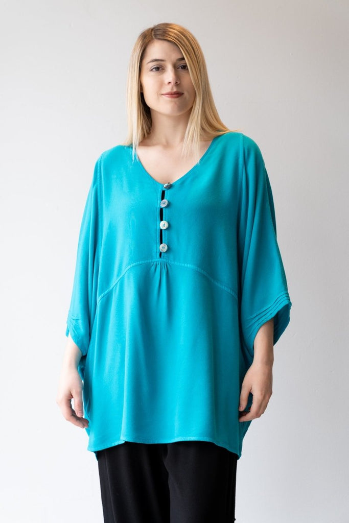 Button Tunic - Turquoise - The Wardrobe