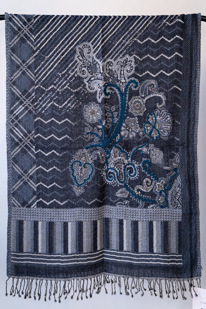Embroidered Wool Shawl - The Wardrobe