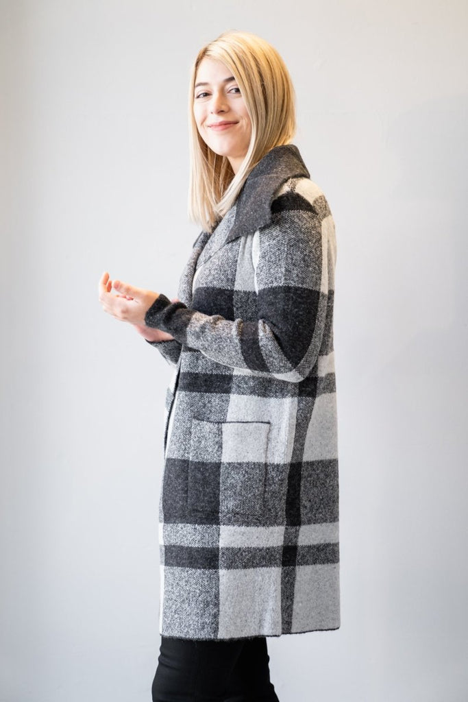 Open Sweater Coat - Plaid - The Wardrobe