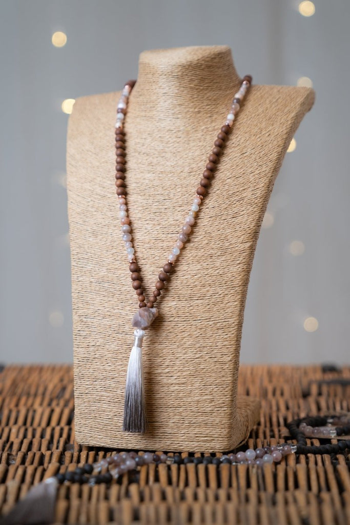 Peach Moonstone Tassel Necklace - The Wardrobe