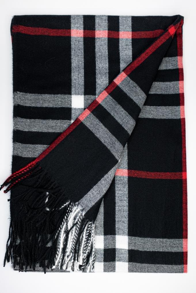 Plaid Scarf - Black - The Wardrobe