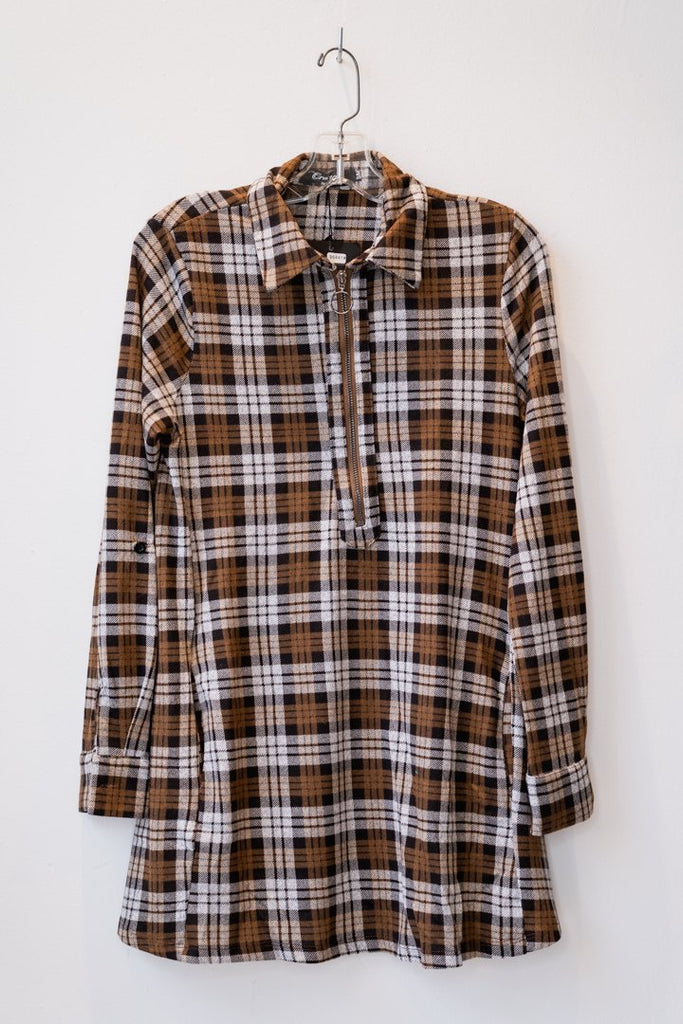 Plaid Top w/ Zipper - The Wardrobe