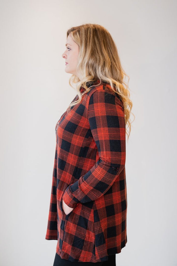 Plaid Tunic w/ Zipper - The Wardrobe