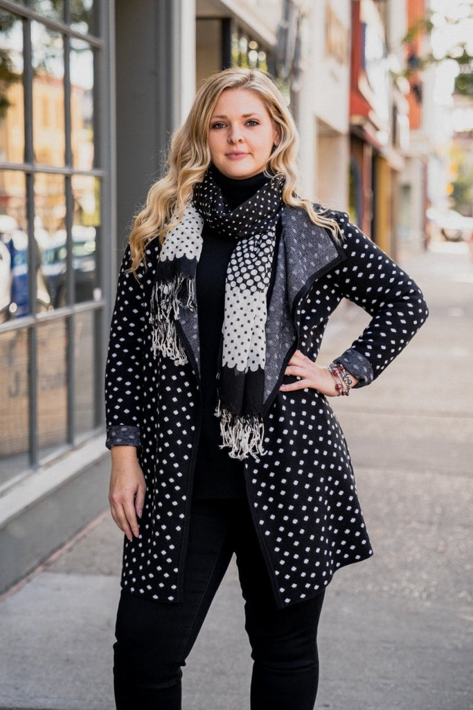 Polka Dot Sweater Coat - The Wardrobe