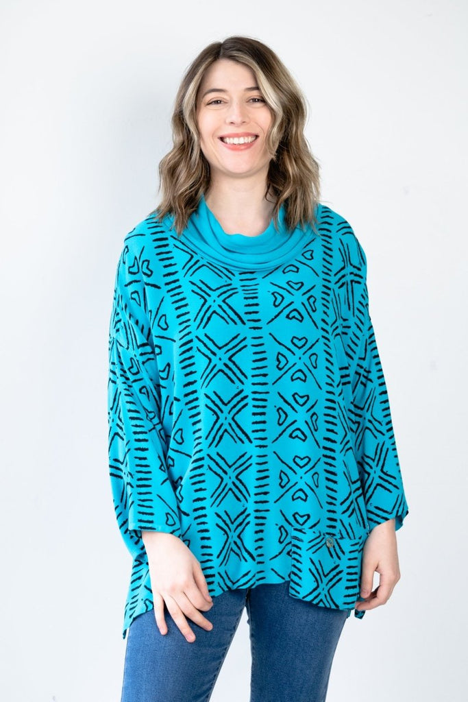 Printed Cowl Neck Top - Turquoise - The Wardrobe