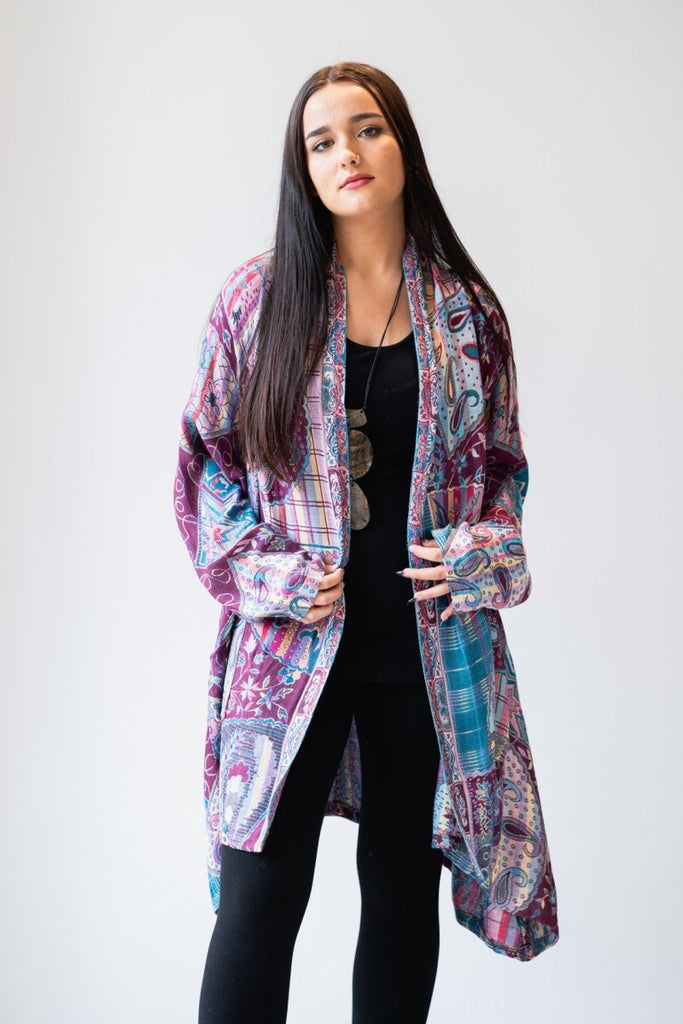 Printed Jacket - Purple & Turquoise - The Wardrobe