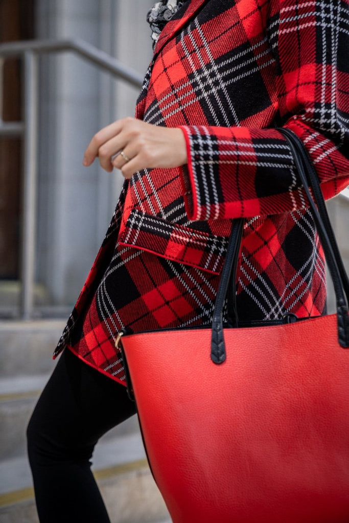Red Plaid Sweater Coat - The Wardrobe
