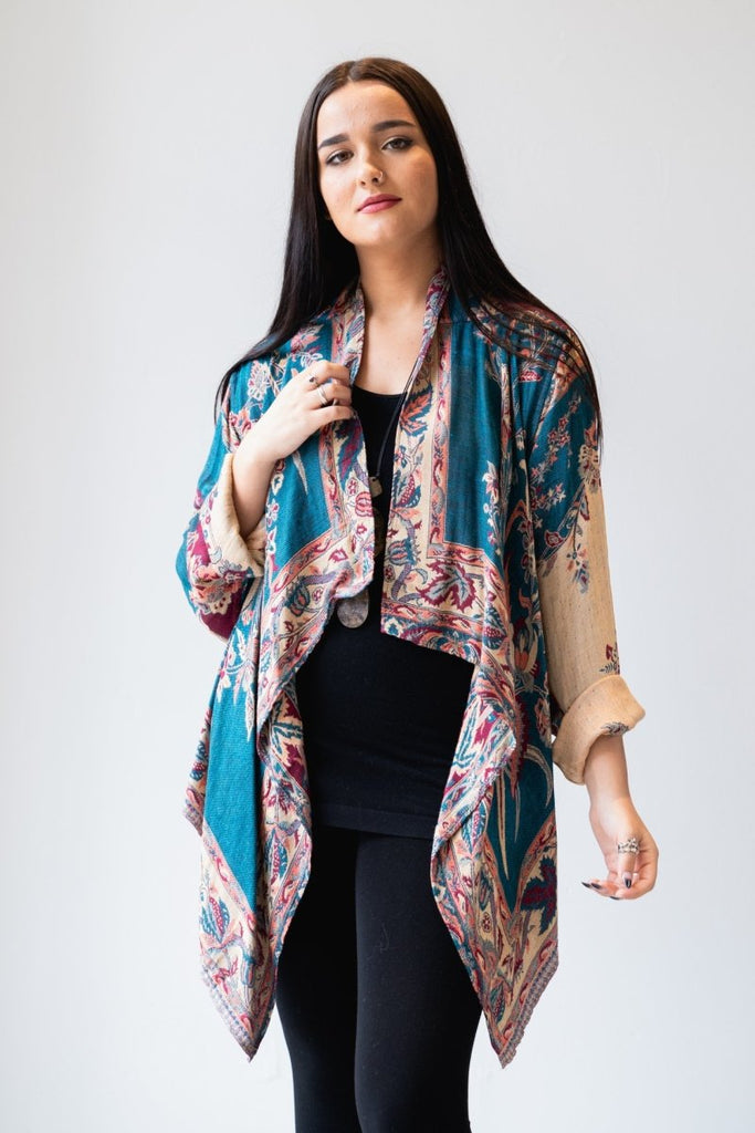 Short Jacket - Teal Print - The Wardrobe