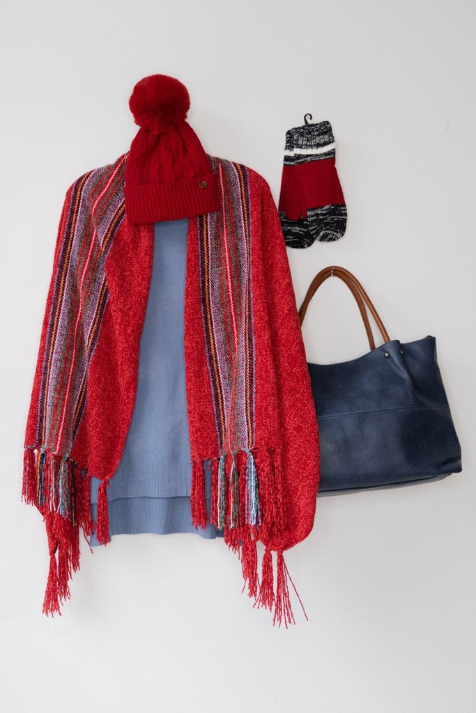 Striped Chenille Scarf - The Wardrobe