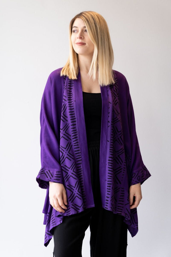 Swing Jacket - Purple Print - The Wardrobe