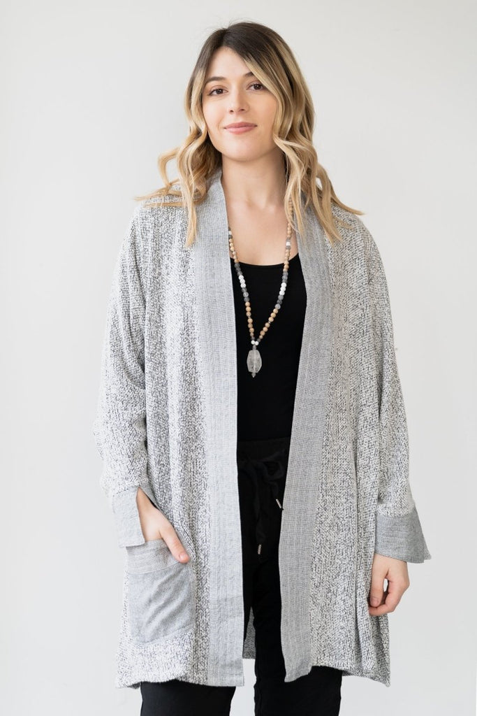 Textured Cardigan - Light Grey - The Wardrobe